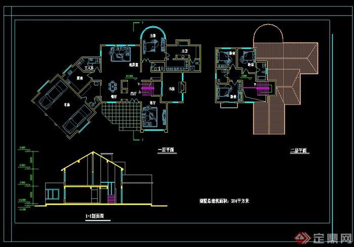 欧式花木独栋别墅建筑设计cad平面图剖面图[原创]山庄风格别墅图片