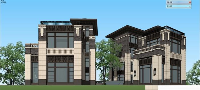 新中式风格独栋别墅建筑su模型图片
