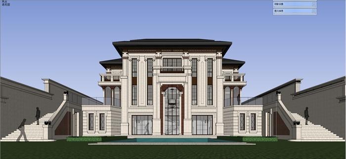 新古典风格独栋别墅建筑楼设计su模型图片