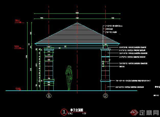 中式四角凉亭设计施工图[原创]