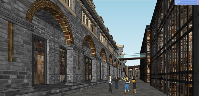 民国风商业街步行街建筑设计su模型[原创]
