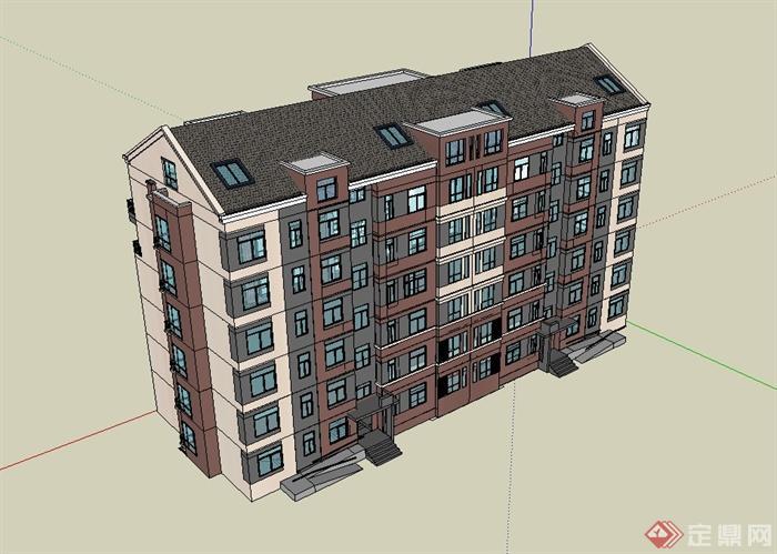现代坡屋顶多层住宅楼建筑设计su模型(1)