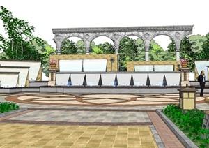 新古典小区中心景观SU(草图大师)模型