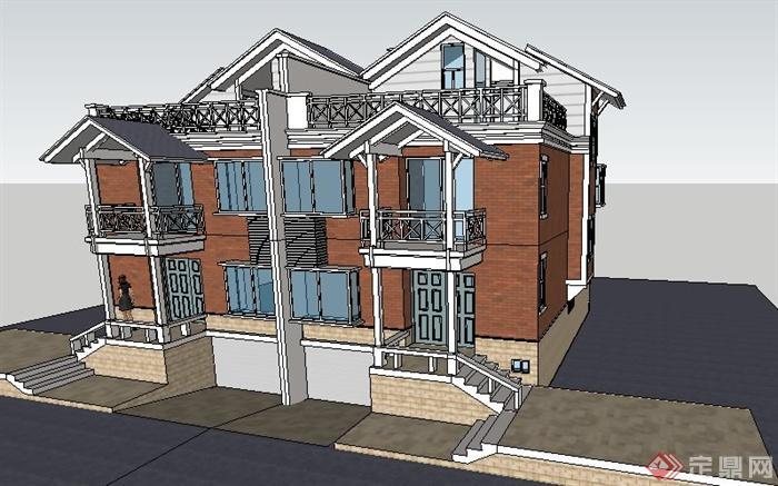 现代坡屋顶双拼别墅建筑设计su模型