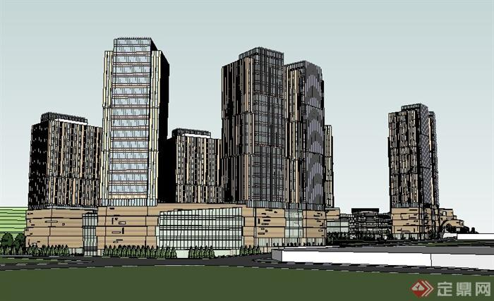 办公楼酒店商业综合体建筑设计su模型(3)