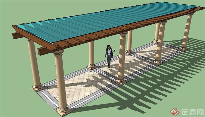 玻璃木廊架设计su模型(2)
