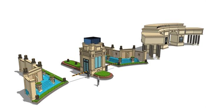 欧式风格岗亭,塔楼,大门su模型