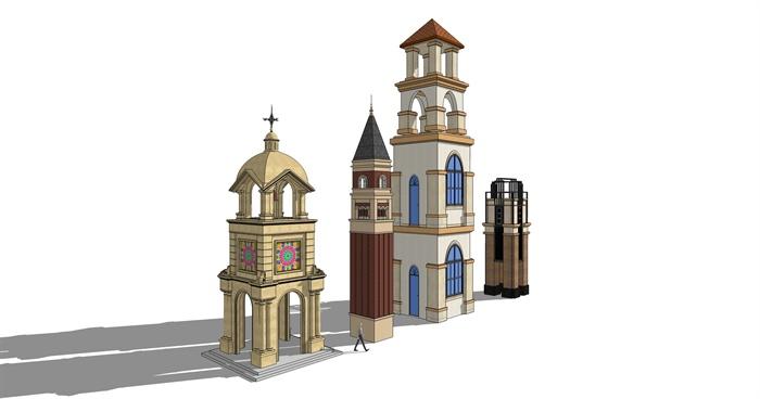 欧式风格岗亭,塔楼,大门su模型[原创]图片