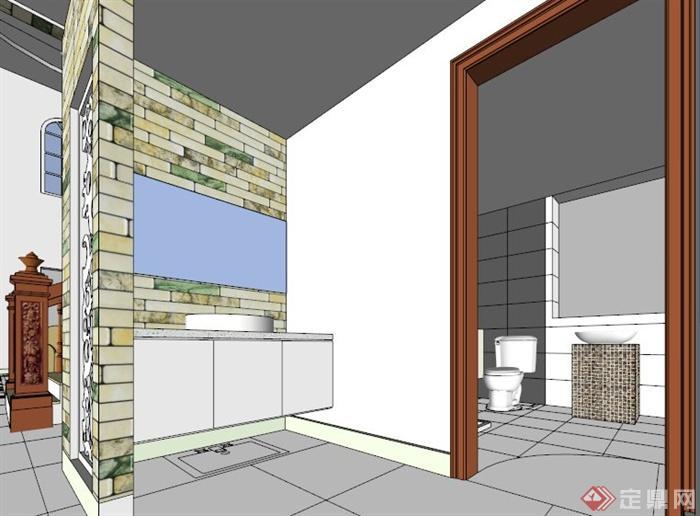 欧式别墅室内空间设计su模型[原创]