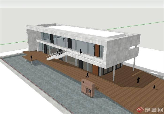 两层现代风格办公楼建筑设计su模型(2)
