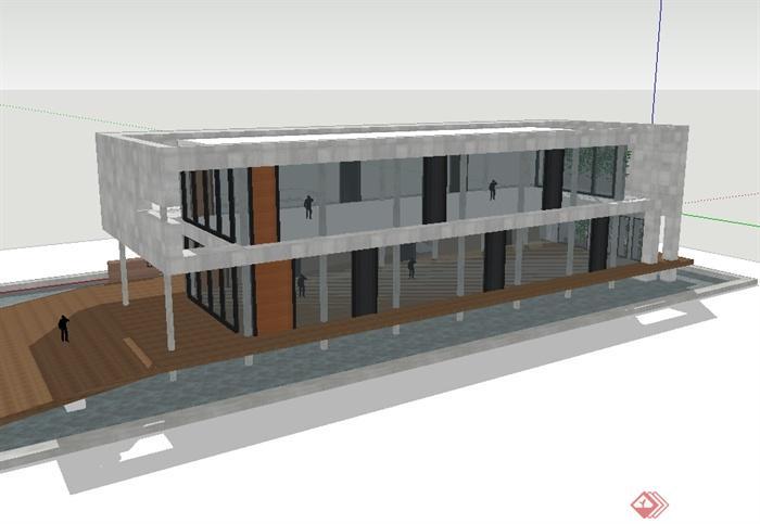 两层现代风格办公楼建筑设计su模型(3)