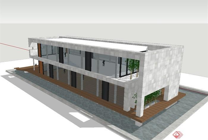 两层现代风格办公楼建筑设计su模型(4)