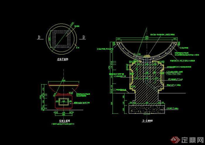 欧式花钵单体设计cad方案[原创]