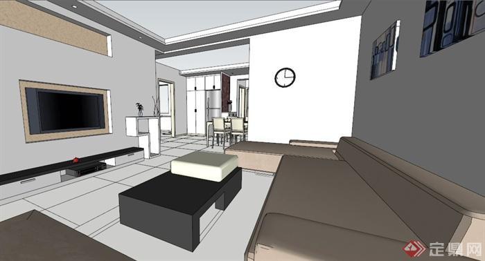 现代简约两居室室内设计su模型素材[原创]