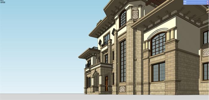 某地中海风格双拼别墅建筑设计su模型图片