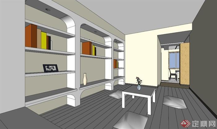 现代三室两厅住宅空间设计su模型[原创]