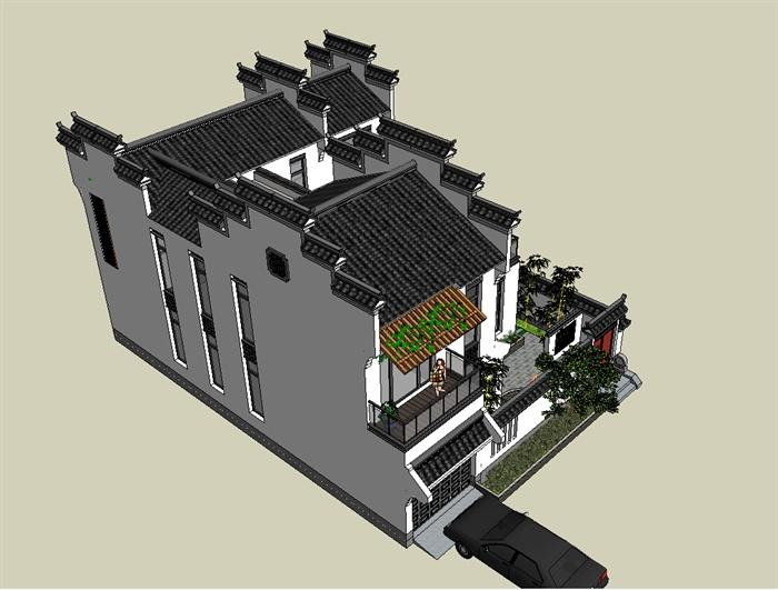 徽派中式住宅别墅建筑设计su模型