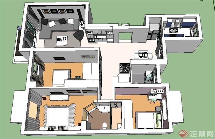 简约三室两厅室内设计su模型,包括沙发茶几、餐桌椅、电视及电视柜、床、床头柜、厨卫设施、陈设,模型制作精细,室内家具陈设细节处理到位,现代风格,具有一定的参考价值。
