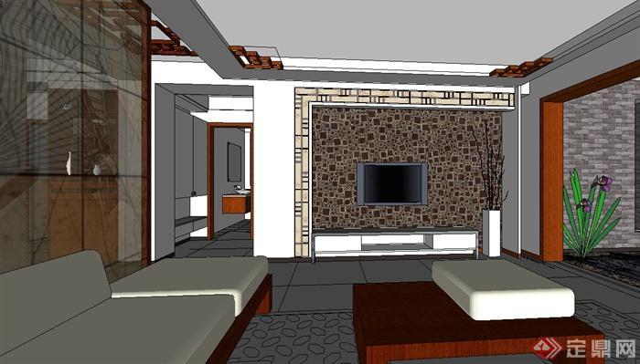 某现代风格精致室内住宅设计su模型(2)