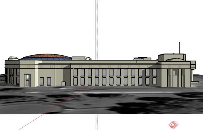 奥克兰欧式博物馆建筑设计su模型[原创]