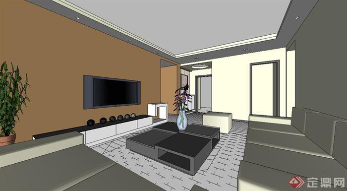 某现代风格住宅室内设计su模型[原创]