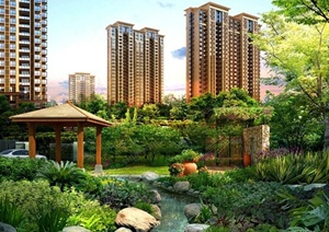 新古典风格住宅小区景观环境设计SU(草图大师)模型