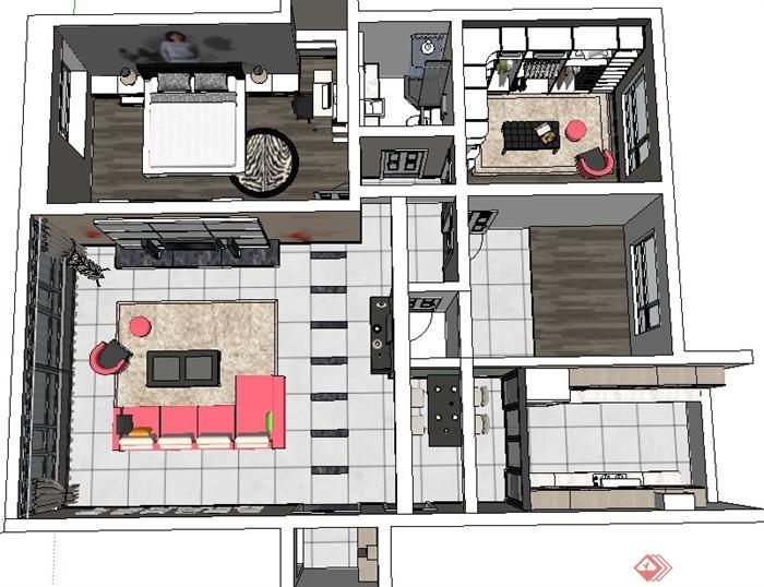 现代风格三室两厅住宅设计su模型[原创]