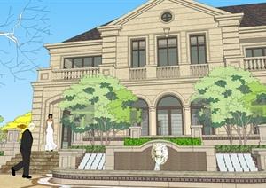 法式风格售楼部建筑及景观设计su(草图大师)模型图片
