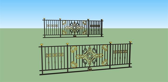多种不同造型的建筑构件,景墙 ,入口,栏杆,门头设计su模型[原创]图片