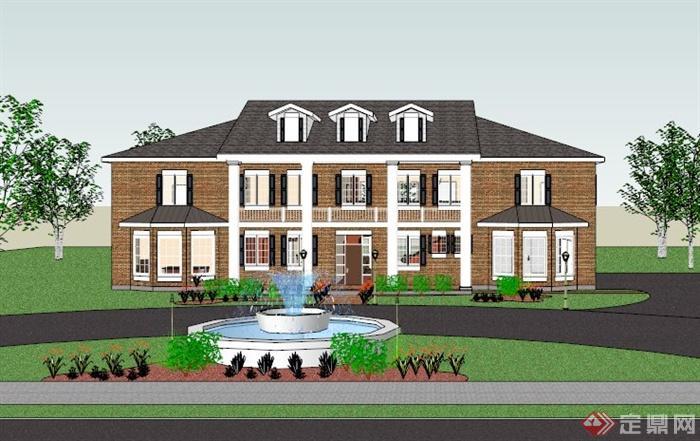 北美风格独栋别墅建筑设计su模型(3)图片