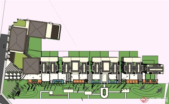 欧式多层商业街建筑su模型(2)