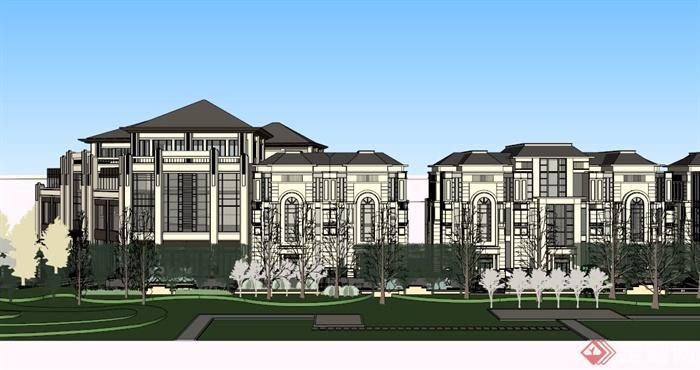 欧式多层商业街建筑su模型(3)图片