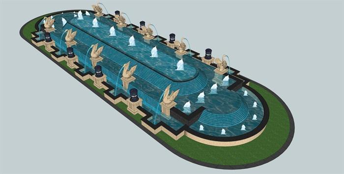 欧式雕塑喷泉跌水景观su模型[原创]