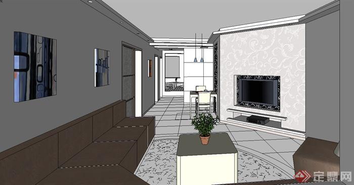 某现代风格室内住宅家装设计su模型(2)