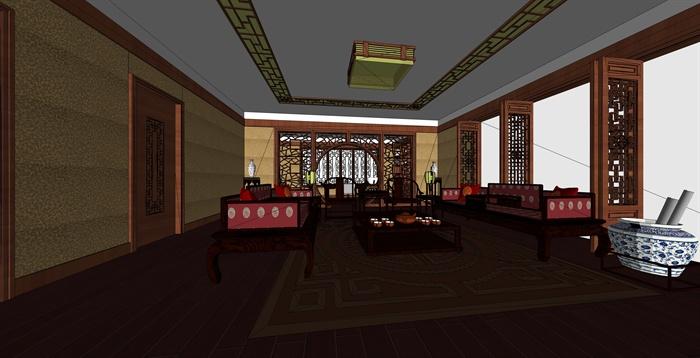 某现代中式风格住宅空间室内客厅设计su模型[原创]