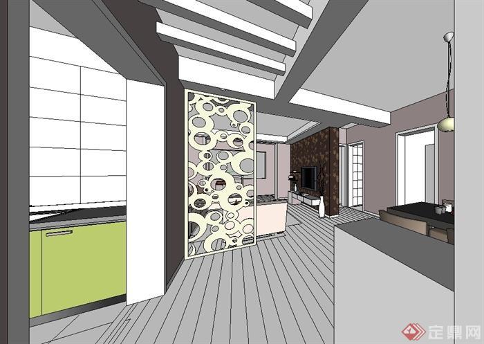现代风格室内住宅空间装修设计su模型(2)