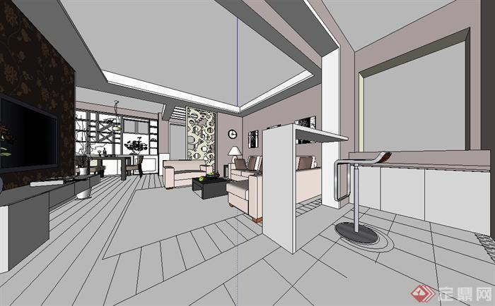 现代风格室内住宅空间装修设计su模型[原创]
