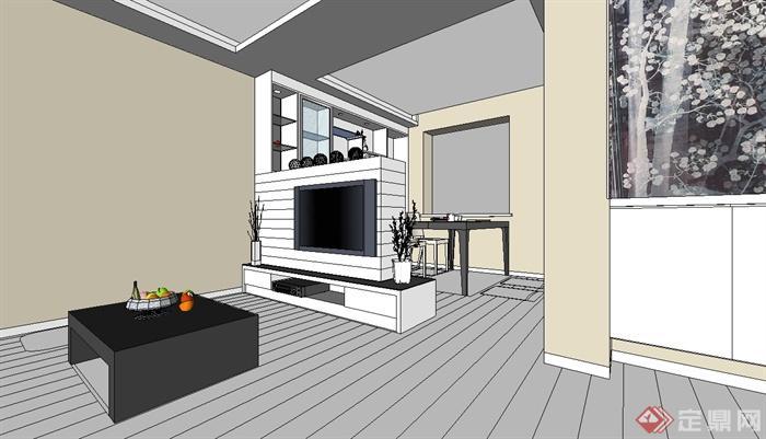 现代风格室内住宅空间装饰设计su模型素材[原创]
