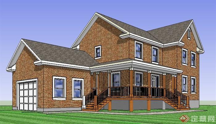 英式风格乡村别墅建筑su模型(1)