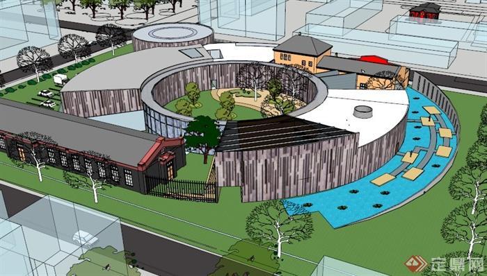 现代环形博物馆展览馆su建筑模型(1)