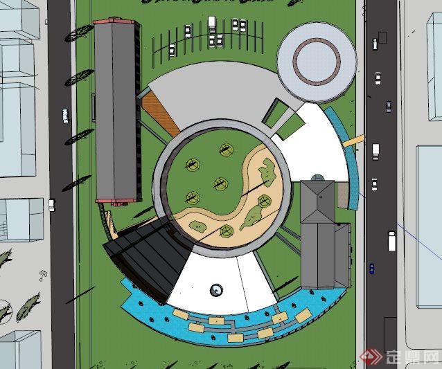 现代环形博物馆展览馆su建筑模型(2)