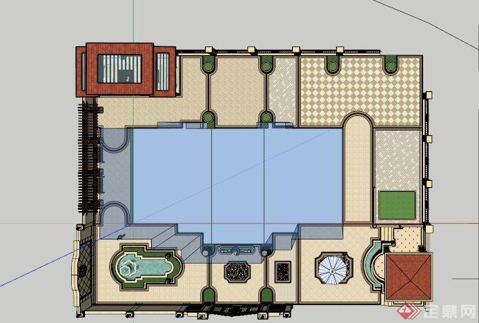 欧式别墅庭院设计su模型[原创]