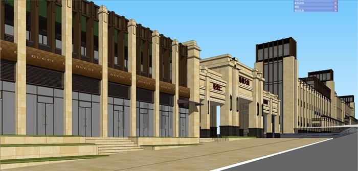 欧式新古典商业街建筑设计su模型[原创]