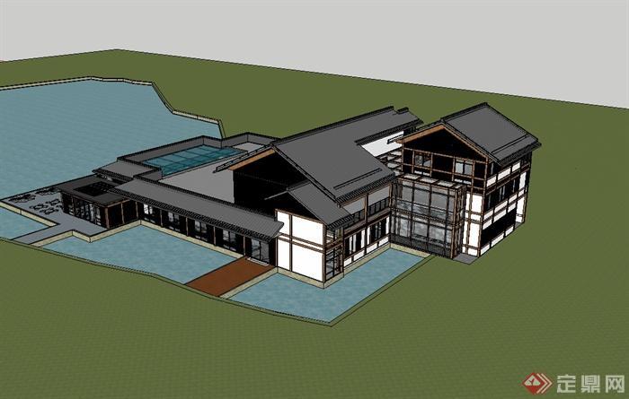 现代中式风格精致别墅房子设计su模型[原创]
