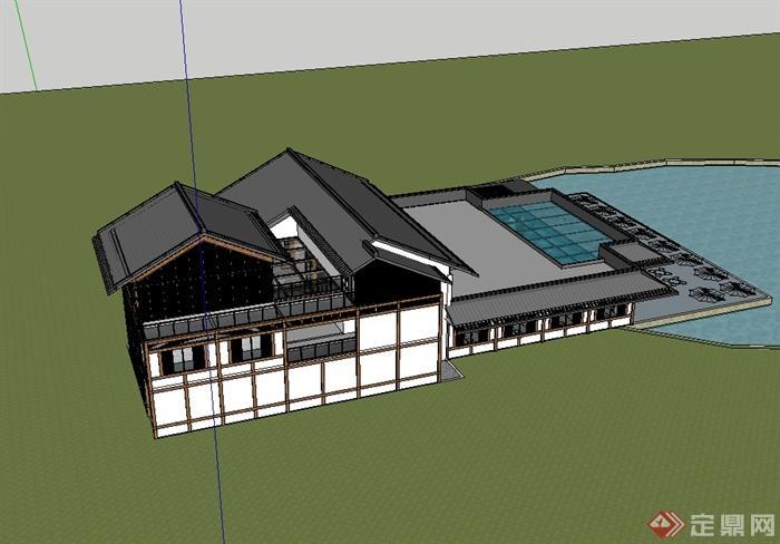 现代中式风格精致别墅房子设计su模型(4)