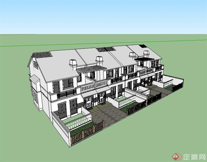 新中式别墅联排别墅建筑设计su模型[原创]风格峡盘龙图片