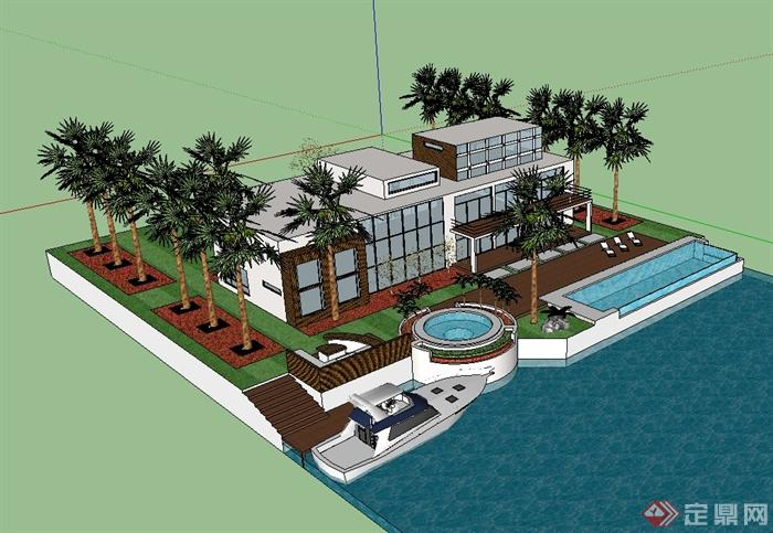 现代海边别墅建筑设计su模型(1)