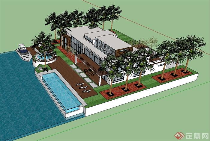 现代海边别墅建筑设计su模型(2)