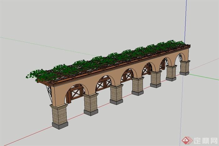 某欧式风格花架,栏杆设计su模型(4)图片