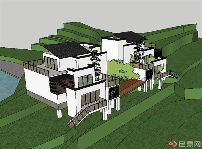 新中式风格独栋别墅设计su模型(2)图片